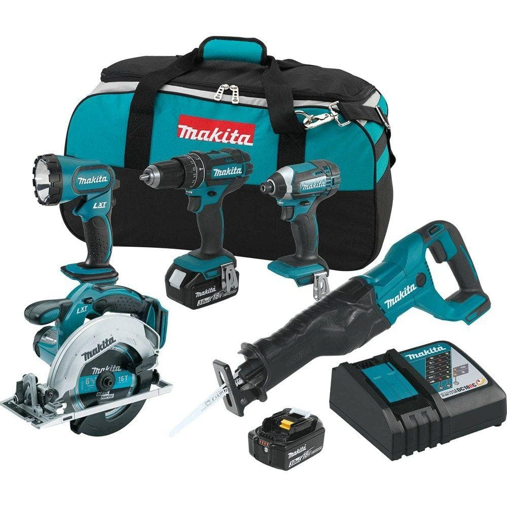 Makita 5-Tool 18-Volt LXT Lithium-Ion Cordless Combo Kit - $299 + FS