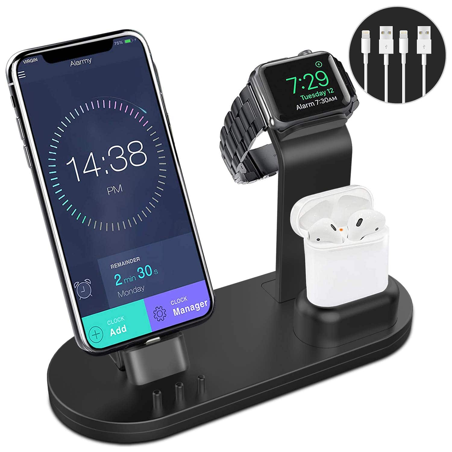 OLEBR 3 in 1 Charging Stand for iWatch, AirPods, and iPhone $19.93