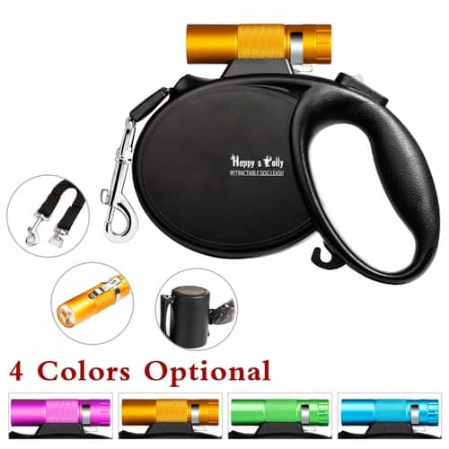 $9.87 for Happy&Polly 4in1 Retractable Dog Leash with Flashlight Dispenser Poop Bags Antipull Bungee 16.4ft
