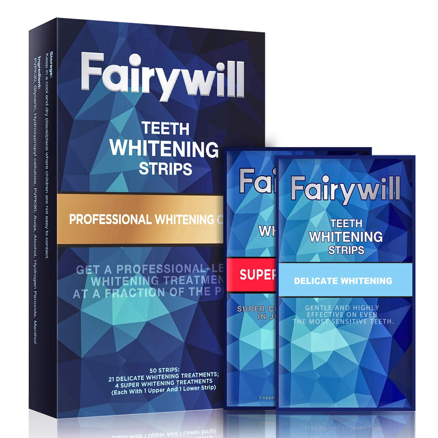 Fairywill Teeth Whitening Strips Pack of 50 Pcs Professional and Express Whitening Strips Kits Remove Stains and Whiten Teeth in 1 Hour $12.49