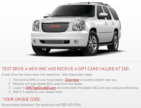 Free $50 Gift Card with GMC Test Drive