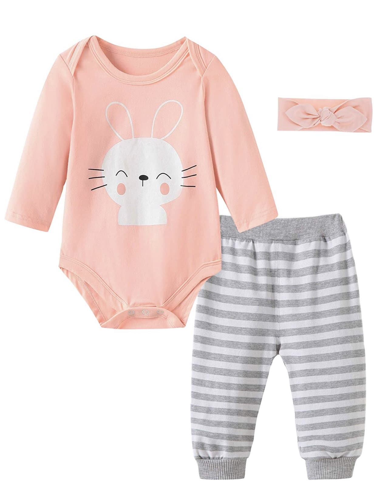 Baby Girls Clothes - Infant Romper Bodysuit + Headband 3pcs Fashion Outfits Set from $  8.39 @ Amazon
