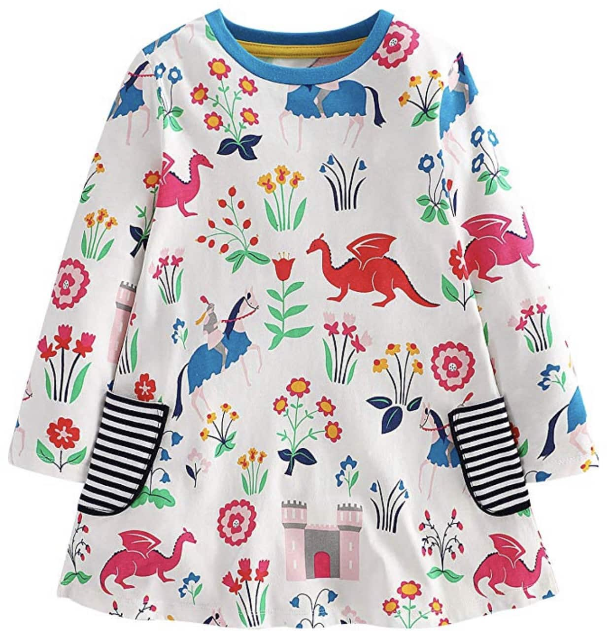 5678b57e4cbc0 Girls Cotton Casual Longsleeve Cartoon Stripe Dresses from $6.99 ...