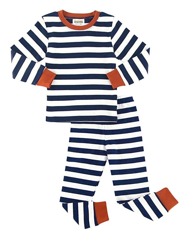Girls Boys Pajamas Sets Cotton Striped Long Sleeve Thickened Sleepwear for Girls and Boys Size 12 Month-13 Years from $6.99 @ Amazon