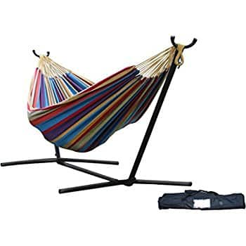 Vivere Double Hammock with Space-Saving Steel Stand $79.99