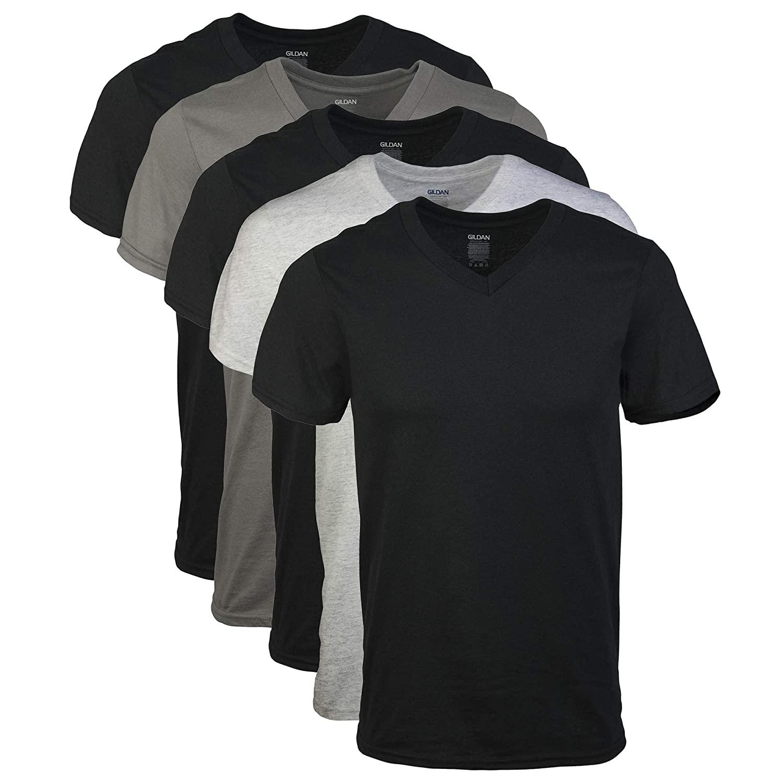 Gildan Men's Assorted V-Neck T-Shirts Multipack (5 T-Shirts) @ Amazon $9