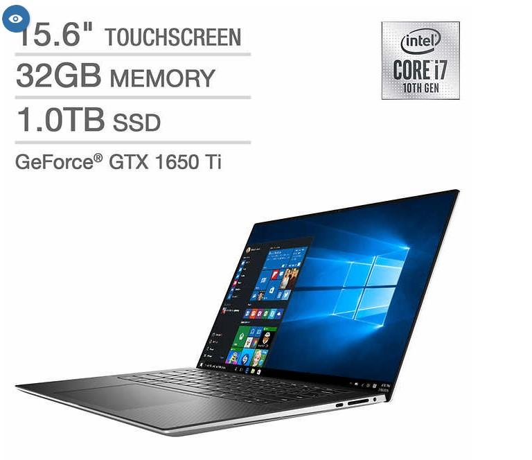 New Dell XPS 15 Touchscreen Laptop - 10th Gen Intel Core i7-10750H - GeForce GTX 1650 Ti - 4K Ultra HD - Windows 10 Professional - 1 TB SSD - 32 GB RAM - $1999.99