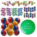 """Beach Toys Assortment! 12 Shutter Shade Sunglasses 12 Squirt Guns 12 Beach Balls & 12 Bubble Bottles + BONUS 9"""" Frisbee! JUST $23.95"""