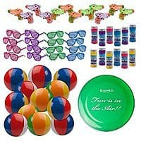 "Amazon Deal: Beach Toys Assortment! 12 Shutter Shade Sunglasses 12 Squirt Guns 12 Beach Balls & 12 Bubble Bottles + BONUS 9"" Frisbee! JUST $23.95"