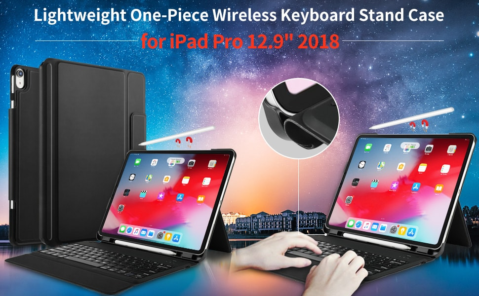 IVSO iPad Pro 12.9 Case with Keyboard 2018-3rd Gen One-Piece Wireless Keyboard Stand [Compatible Apple Pencil Charging] Auto Wake Sleep Keyboard Case for iPad Pro 12.9 2018 $19.99