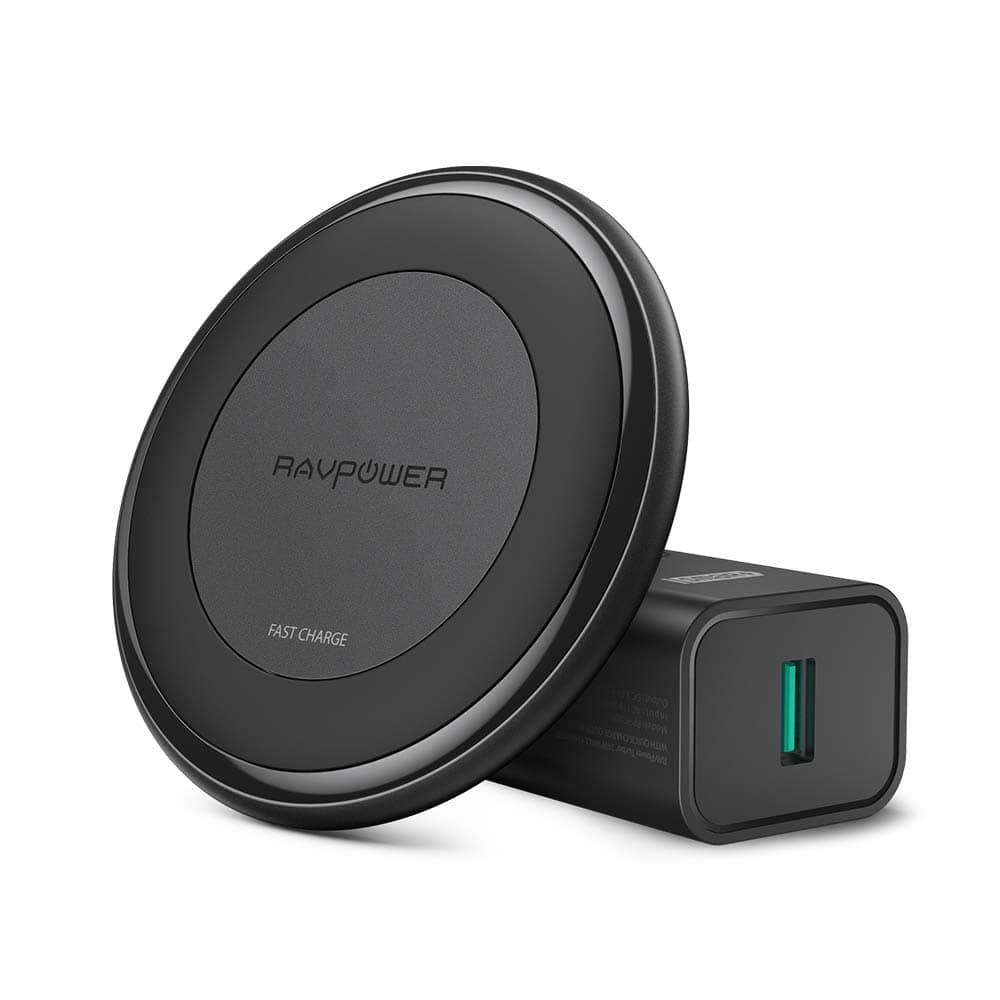 RAVPower Fast Wireless Charger 10W Max with QC, 11.59 ( Amazon lightening deal and 20% coupon) $11.59
