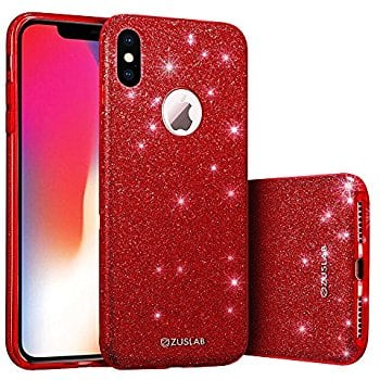 iPhone X Case, Bling Glitter Sparkle 3 Layer Hybrib Shockproof Thin Soft Flexible TPU Gel Cover for Apple iPhone X (Red) $4.5