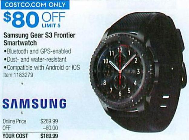 Costco Wholesale Black Friday Samsung Gear S3 Frontier Smartwatch