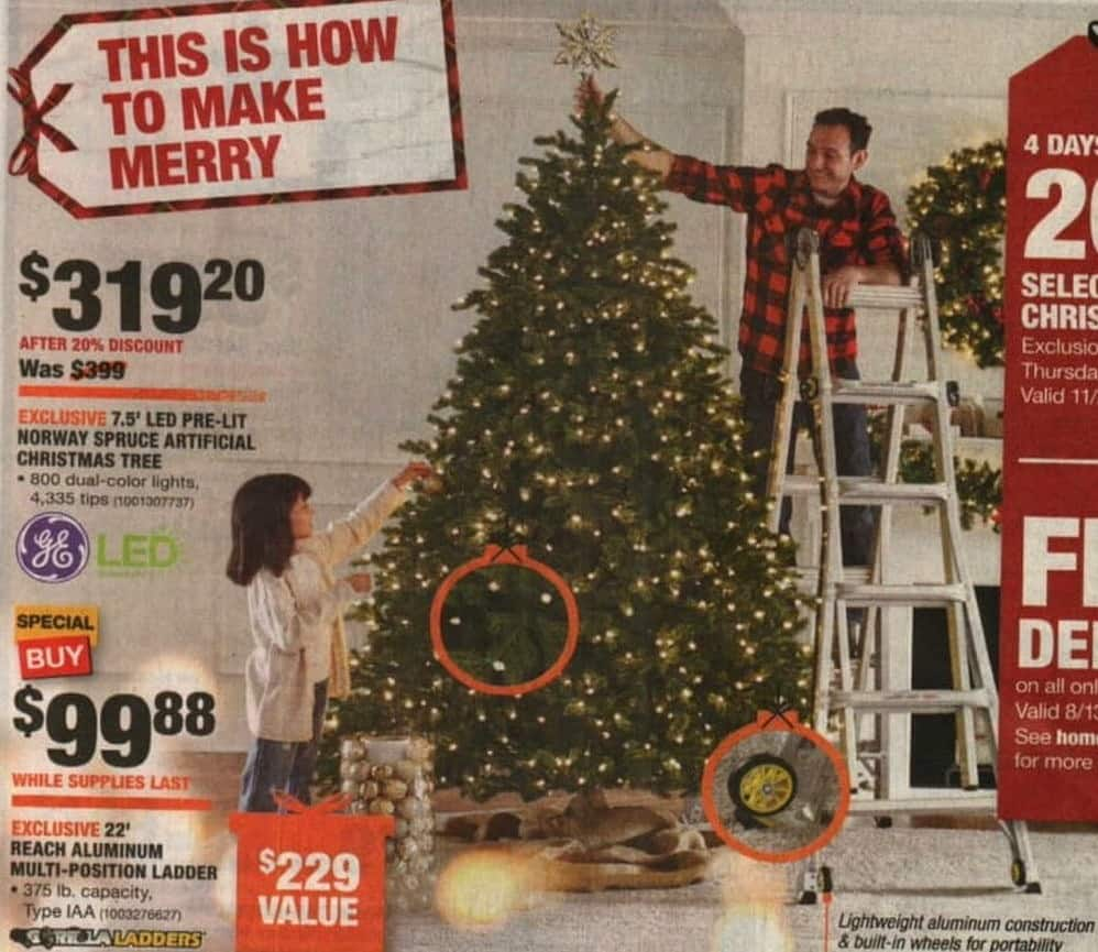 Home Depot Black Friday: GE 7.5\' LED Pre-Lit Norway Spruce ...