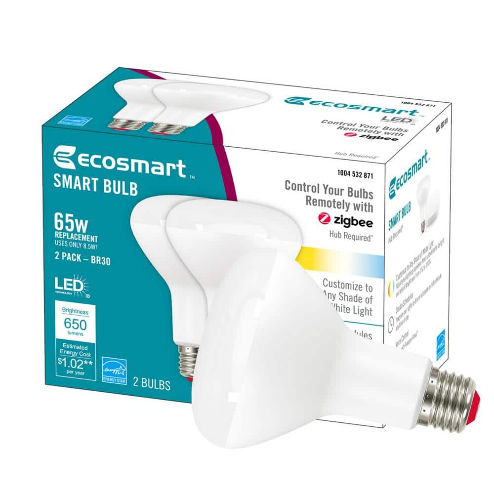 Ecosmart 2-Pack LED White Tunable Dimmable Smart Bulb A19 $9.97 BR30 $4.97 FS