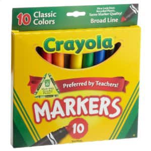 Crayola 10ct Classic Broad Line Markers $0.97 free ship w/Amazon Prime
