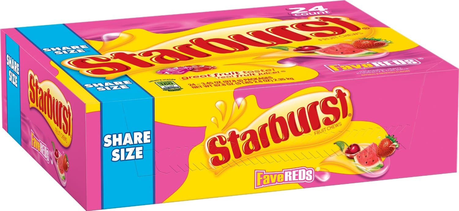OOS---Starburst FaveREDs Fruit Chews Candy, 24 Single Packs, 2.07 ounce each $6.74 or less w/subscribe & save or $7.10 add-on @Amazon