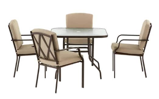 5 Piece Hampton Bay Bradley Outdoor Dining Set W/ Oatmeal Cushion EXPIRED