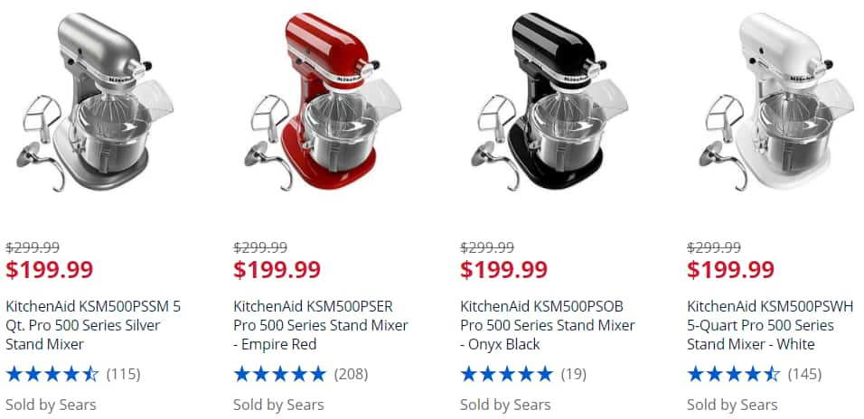 Sears.com KitchenAid KSM500PS 5 Qt. Pro 500 Series Mixer (ALL COLORS) $199 - $40 back in cashback points ($159)