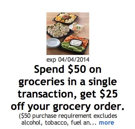 Kroger:  $25 off $50 purchase digital coupon