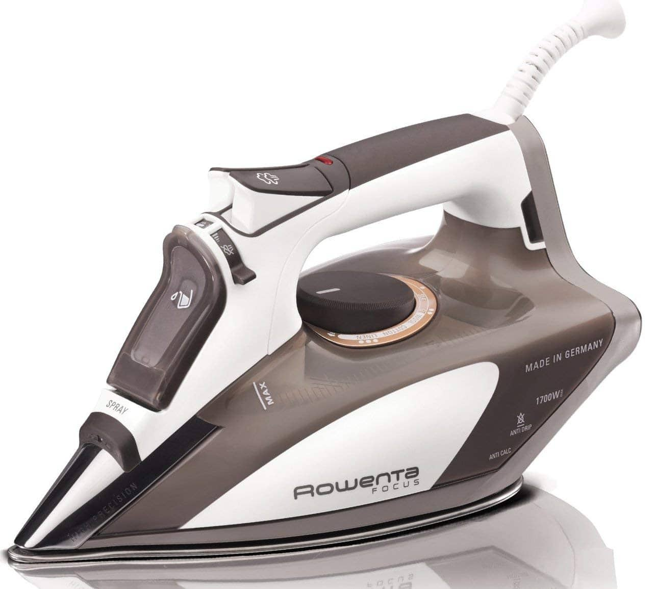 Rowenta 1700-Watt Micro Steam Iron Stainless Steel Soleplate with Auto-Off, 400-Hole, Brown, DW5080 $47.49