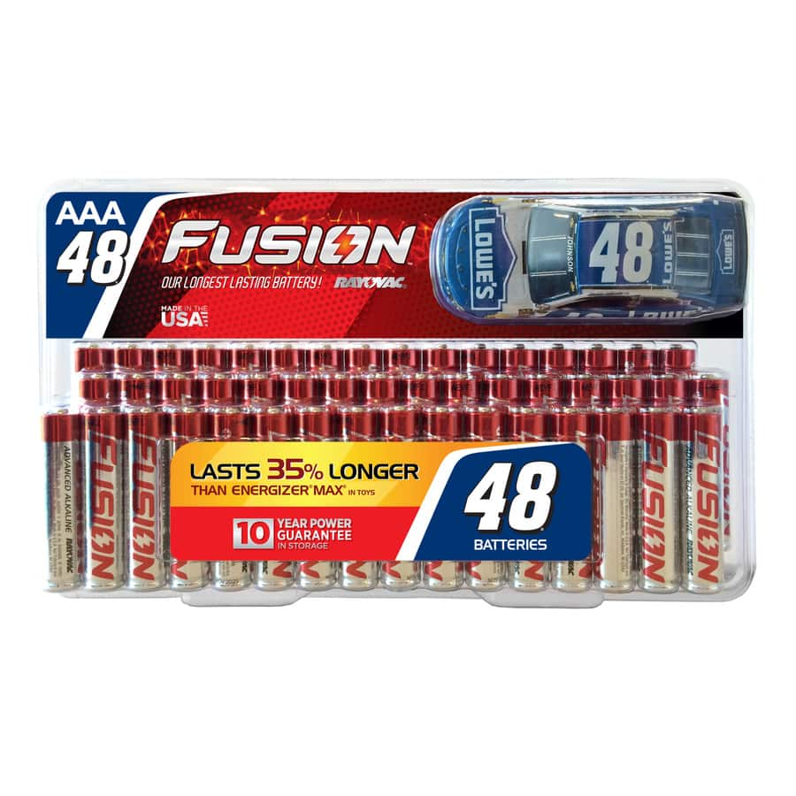 Rayovac Fusion 48pk AAA Batteries low as $1.51+ and $5 Gift Card/$20Purchase at Lowes