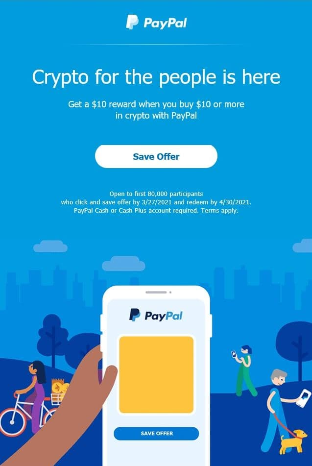 YMMV- Buy $10 in Cryto using Pay Pal, get a $10 Pay Pal Voucher