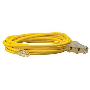 Coleman Cable 04187 25 foot 12/3-Wire Gauge Multi-Outlet Extension Cord with Lighted End @ Amazon for $15.82