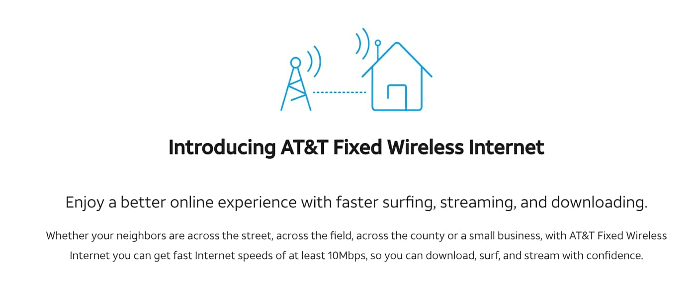 AT&T Fixed Wireless Internet for home or small business - $60 per month (Up to 170 GB per month). YMMV