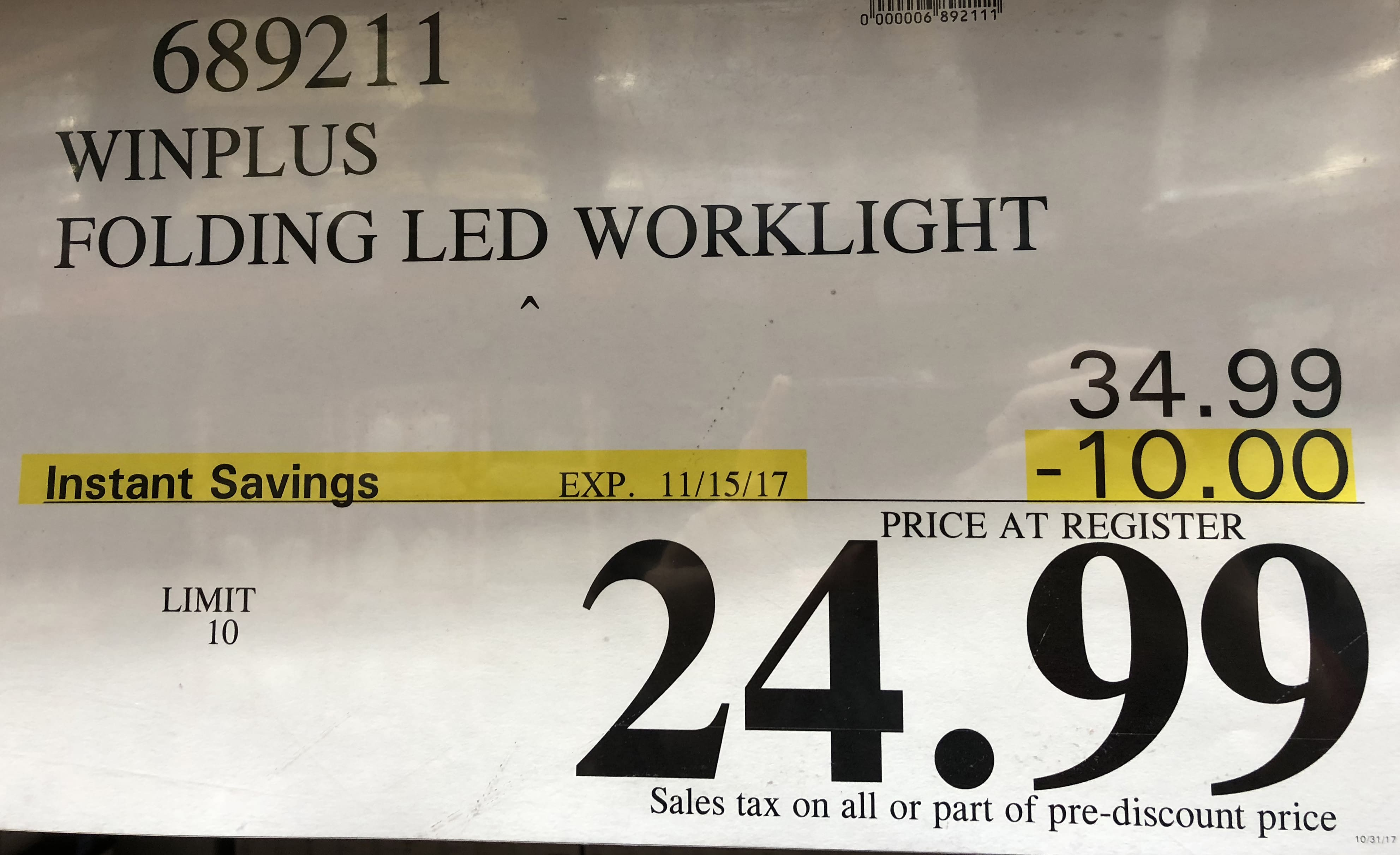 Winplus LED Folding Worklight @ Costco (in-store ONLY), $25 ($10 off)