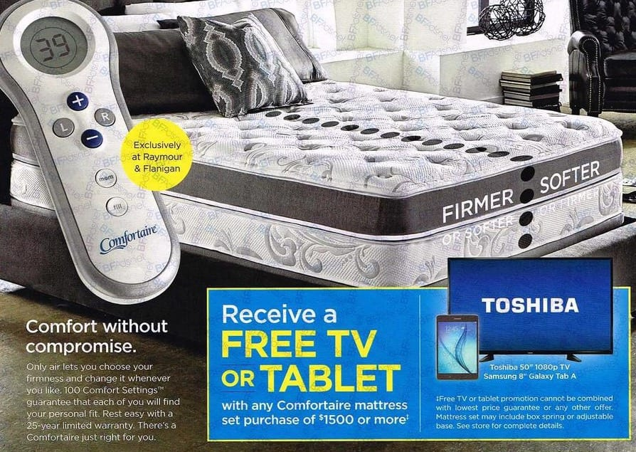 Raymour Flanigan Black Friday Toshiba 50 1080p Tv Or Samsung 8 Galaxy Tab A Free With Any Comfortaire Mattress Set Purchase Of 1500 More