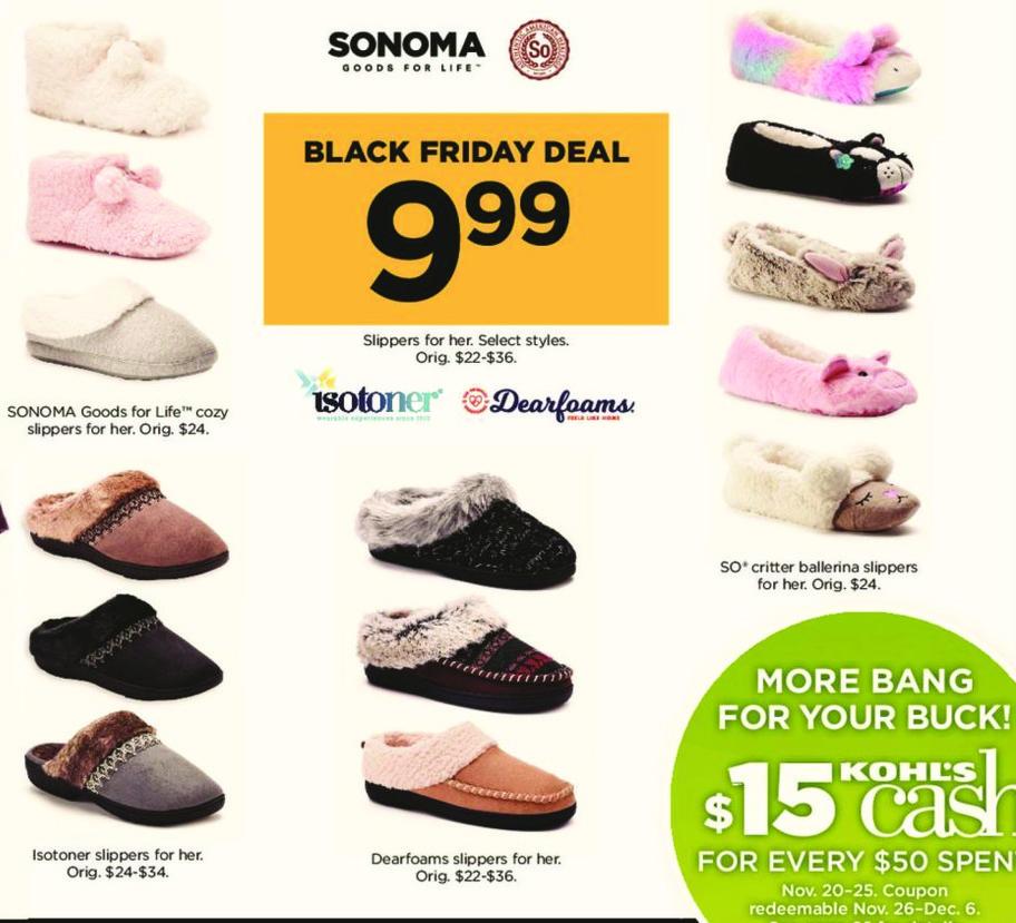 Kohl's Black Friday: Sonoma Women's Slippers for $9.99