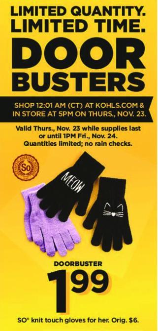 Kohl's Black Friday: SO Women's Knit Touch Gloves for $1.99