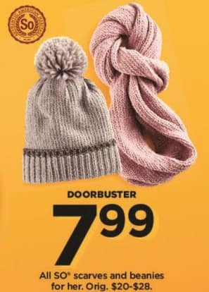 Kohl's Black Friday: All Women's SO Scarves And Beanies for $7.99