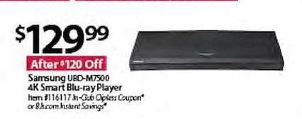 BJs Wholesale Black Friday: Samsung UBD-M7500 4K Smart Blu-Ray Player for $129.99