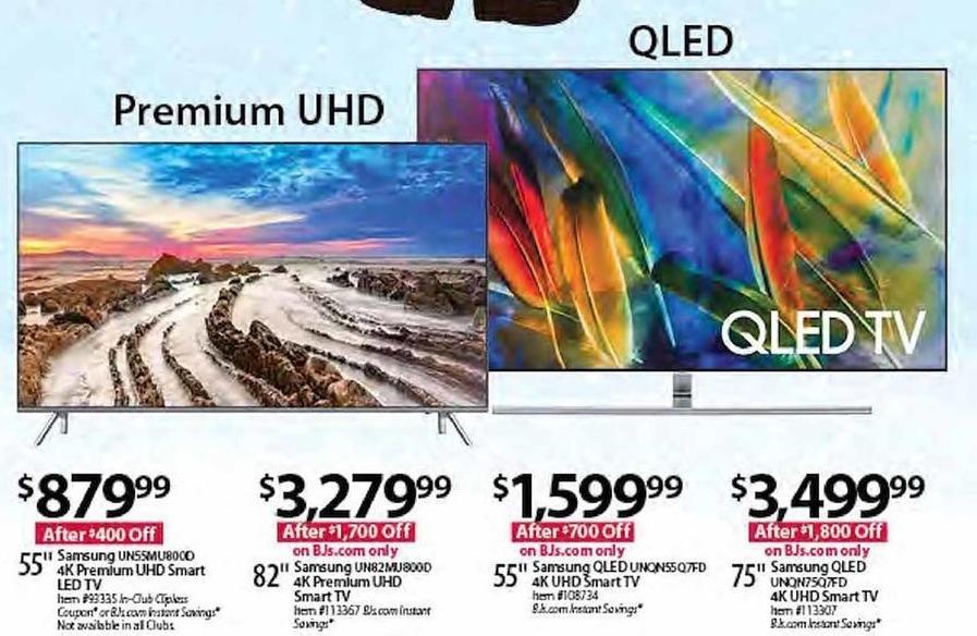 "BJs Wholesale Black Friday: Samsung UN55MU800D 55"" 4K Premium UHD Smart LED TV for $879.99"