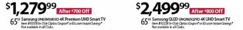 "BJs Wholesale Black Friday: Samsung UNQN65Q7FD 65"" QLED 4K UHD Smart TV for $2,499.99"