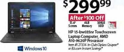 "BJs Wholesale Black Friday: HP 15-bw035nr 15.6"" Touchscreen Laptop Computer w/ AMD A10-9620P for $299.99"