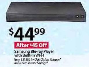 BJs Wholesale Black Friday: Samsung BD-JM57C Blu-ray Player w/ Built-In WiFi for $44.99
