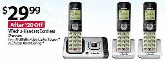 BJs Wholesale Black Friday: Vtech CS6729-37 3-Handset Cordless Phones for $29.99