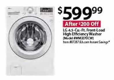 BJs Wholesale Black Friday: LG WM3270CW 4.5-cu.-ft. Front-Load High Efficiency Washer for $599.99