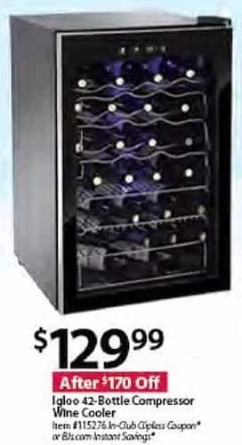 BJs Wholesale Black Friday: Igloo 42-Bottle Compressor Wine Cooler for $129.99