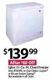 BJs Wholesale Black Friday: Igloo 7.1-Cu.-Ft. Chest Freezer for $139.99