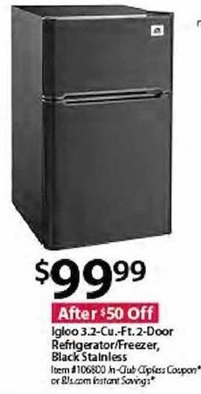 BJs Wholesale Black Friday: Igloo 3.2-cu.ft. 2-Door Refrigerator/Freezer Black Stainless for $99.99