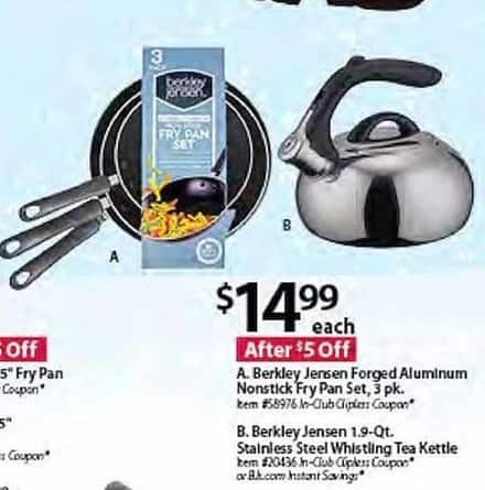 BJs Wholesale Black Friday: Berkley Jensen Forged Aluminum Nonstick Fry Pan Set, 3 Pk. for $14.99