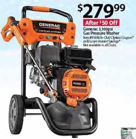 BJs Wholesale Black Friday: Gererac 3100psi Gas Pressure Washer for $279.99