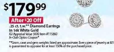 BJs Wholesale Black Friday: Diamond 0.25-Cttw. Earrings In 14K White Gold for $179.99