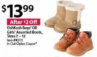 BJs Wholesale Black Friday: OshKosh Girls Assorted Boots for $13.99