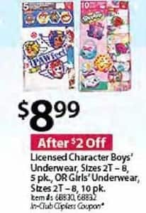 BJs Wholesale Black Friday: Boys Licensed Character 5-pk. Underwear for $8.99