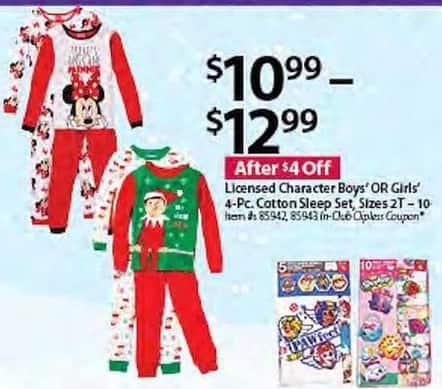 BJs Wholesale Black Friday: Boys Licensed Character 4-pc. Cotton Sleep Set for $10.99 - $12.99